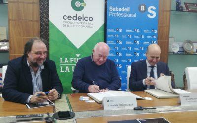 El Círculo Empresarial de Elche y Comarca y Banco de Sabadell firman convenio de colaboración.